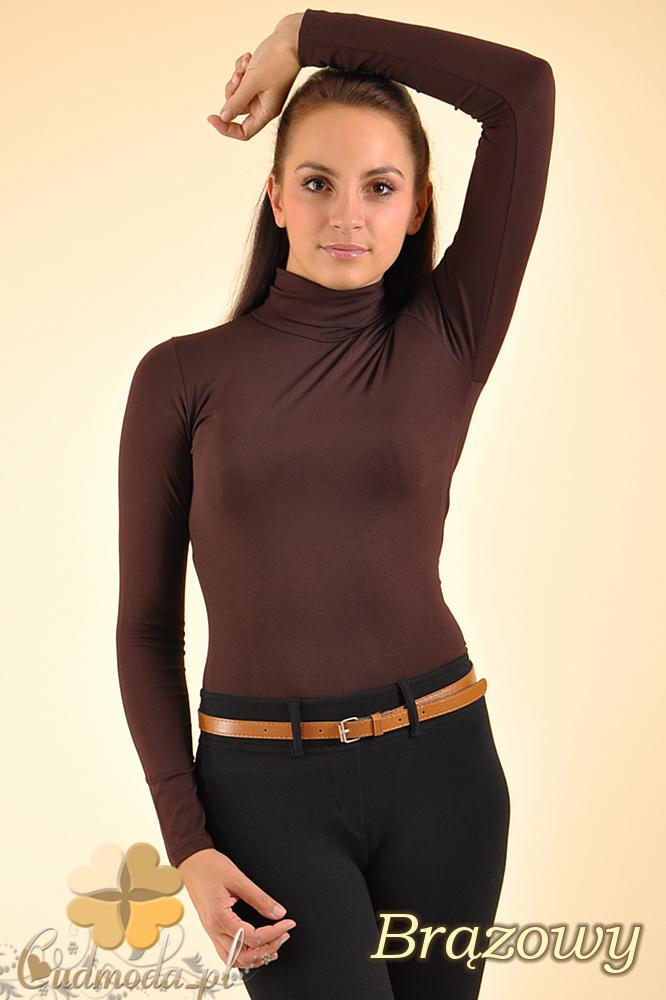 CM0016 Gładki golf damski z długim rękawem - brązowy