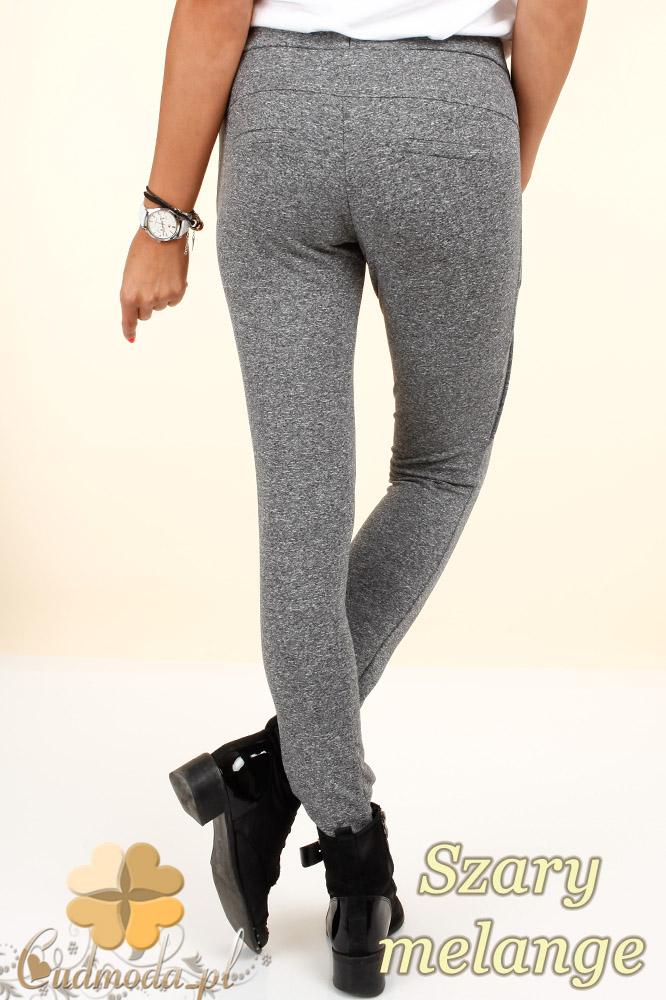 CM0322 Legginsy spodnie dresowe - szare melanżowe
