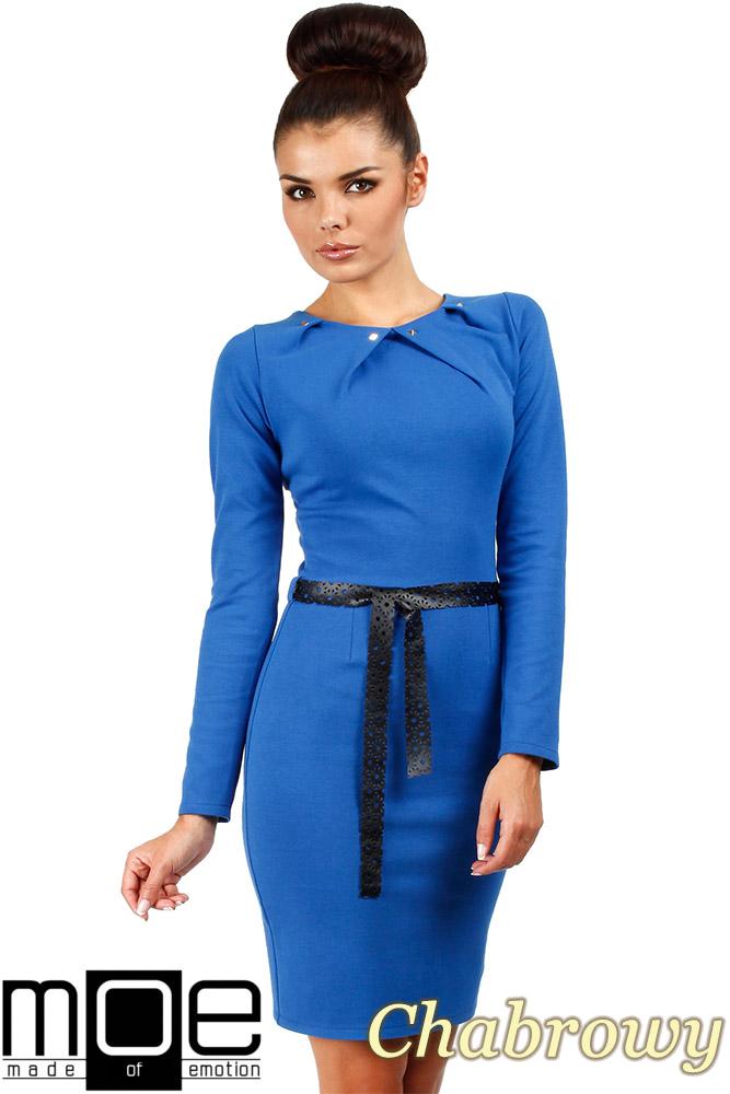 CM0333 Sukienka ołówkowa z ćwiekami - chabrowa