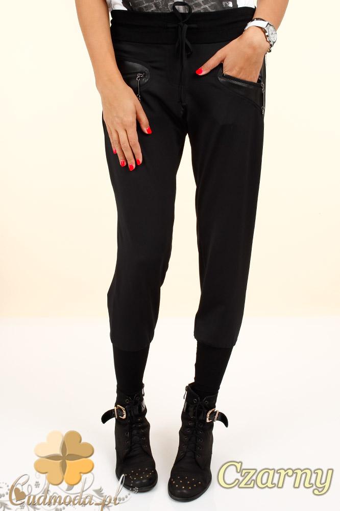 CM0321 Spodnie damskie legginsy - wstawki skóry i zamki