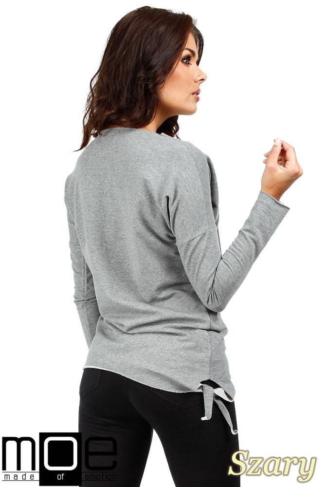 CM0340 Bluza damska dresowa z ozdobny sercem - szara