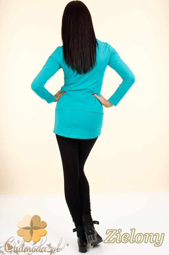 CM0347 Bluzka - tunika damska z ozdobnymi zameczkami - zielona