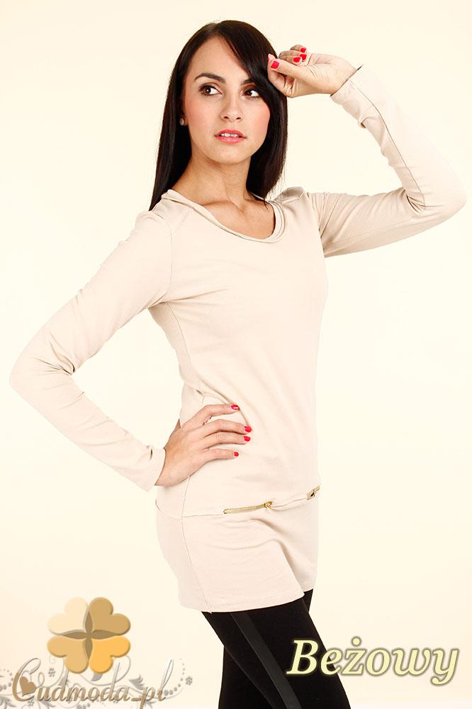 CM0347 Bluzka - tunika damska z ozdobnymi zameczkami - beżowa