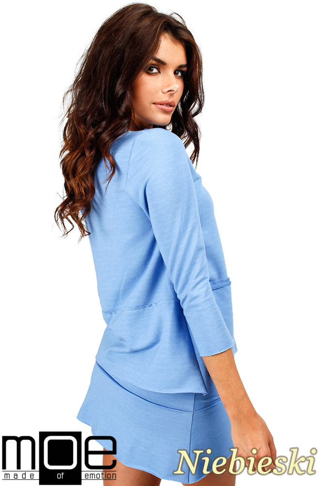 CM0350 Trapezowa bluza damska - niebieska