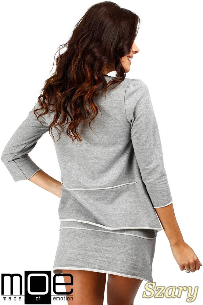 CM0350 Trapezowa bluza damska - szara