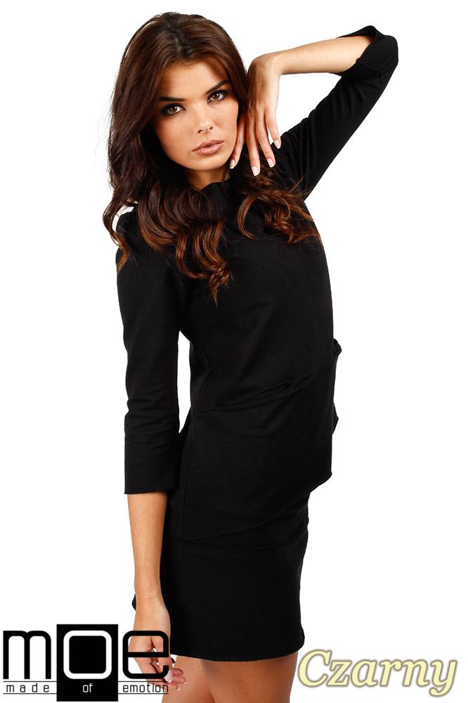 CM0350 Trapezowa bluza damska - czarna