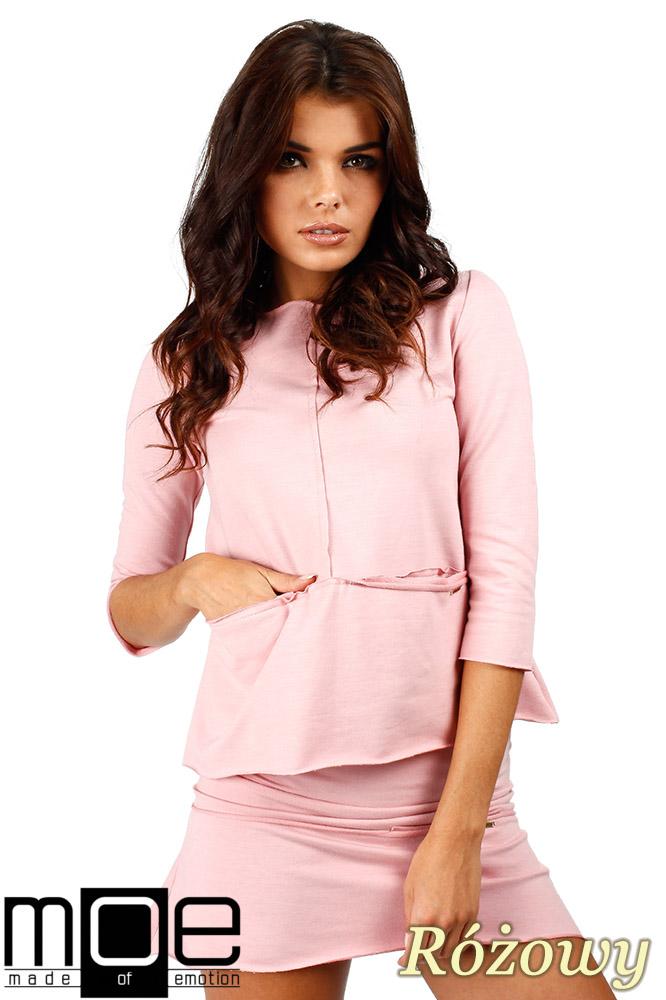 CM0350 Trapezowa bluza damska - różowa