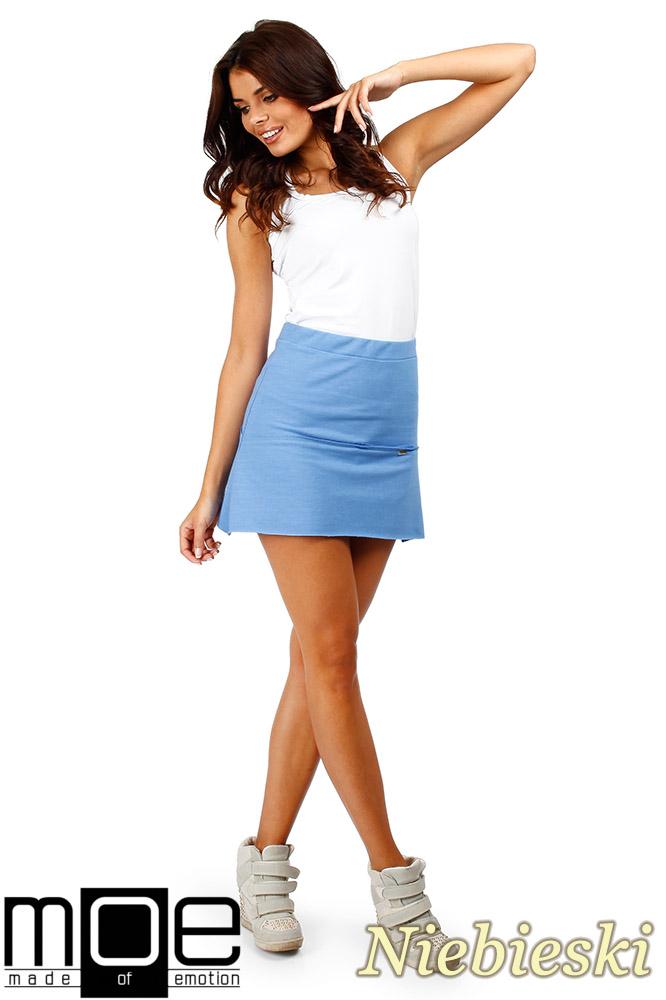 CM0351 Mini spódniczka z dzianiny - niebieska