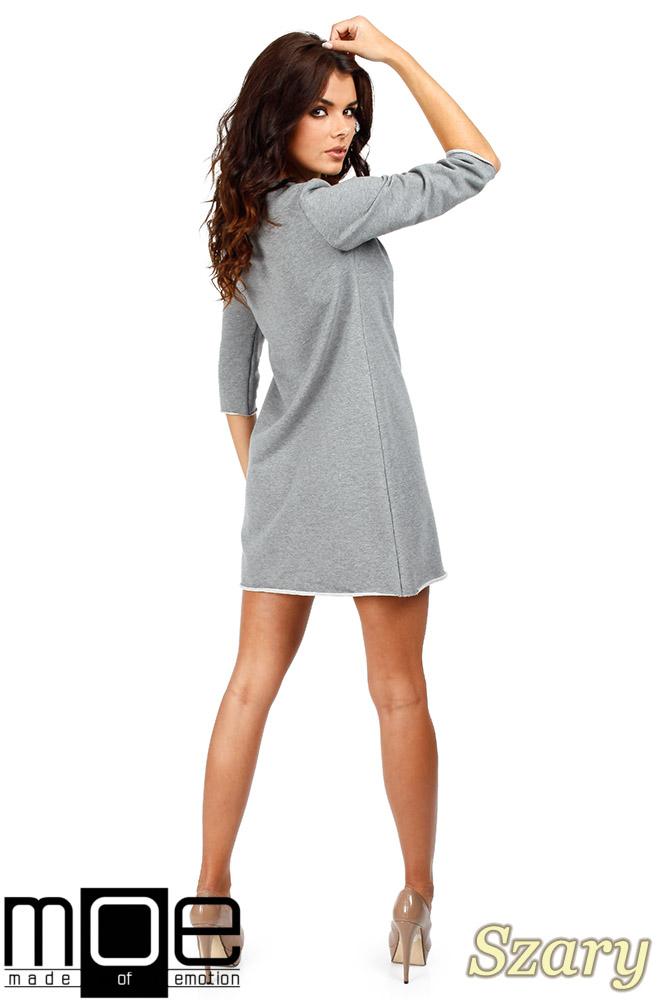 CM0356 Mini sukienka - tunika z dzianiny - szara