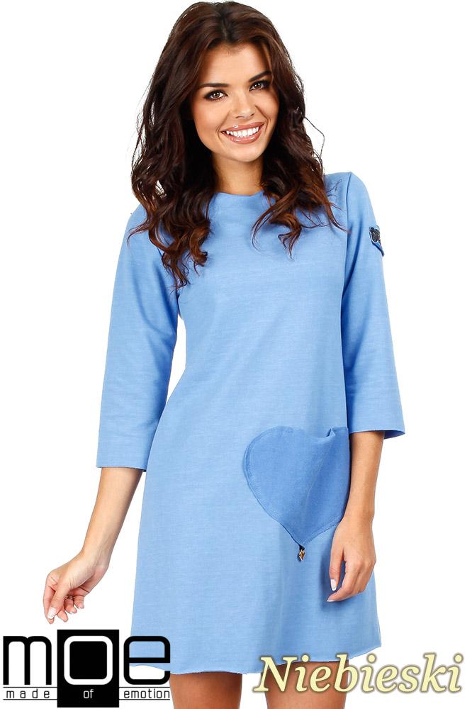 CM0356 Mini sukienka - tunika z dzianiny - niebieska
