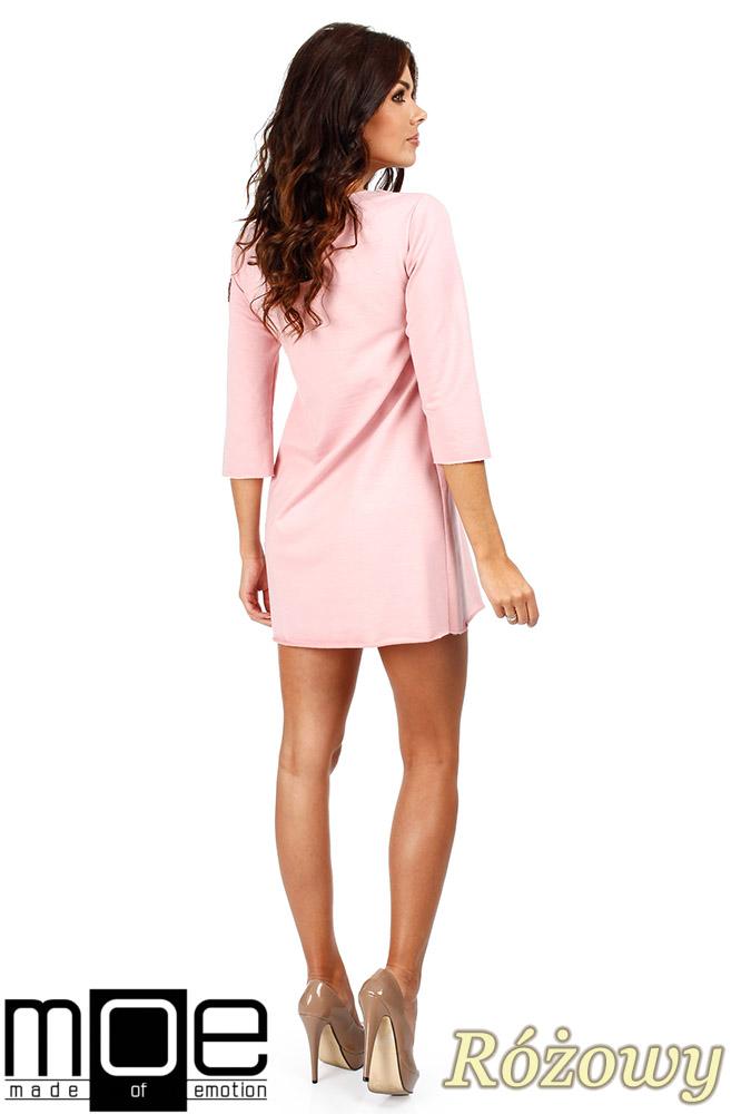 CM0356 Mini sukienka - tunika z dzianiny - różowa