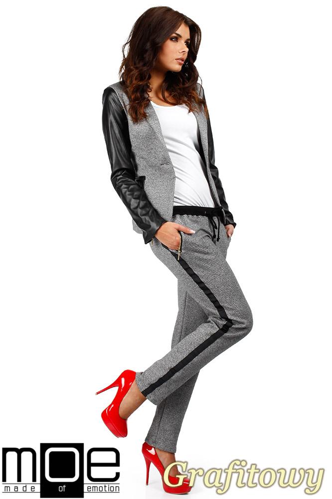 CM0359 Spodnie damskie z lampasem i zameczkami - grafitowe