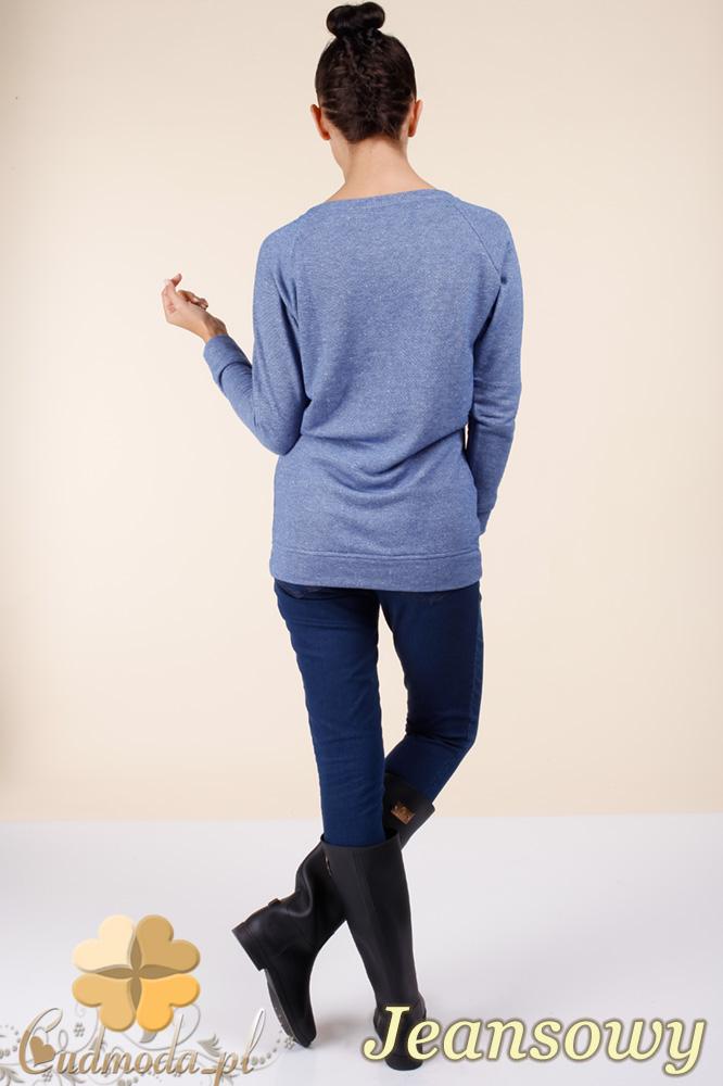 CM0362 Bluza damska z nadrukiem i złotymi ćwiekami - jeansowa