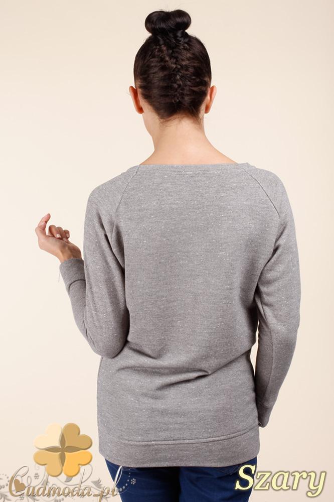 CM0362 Bluza damska z nadrukiem i złotymi ćwiekami - szara