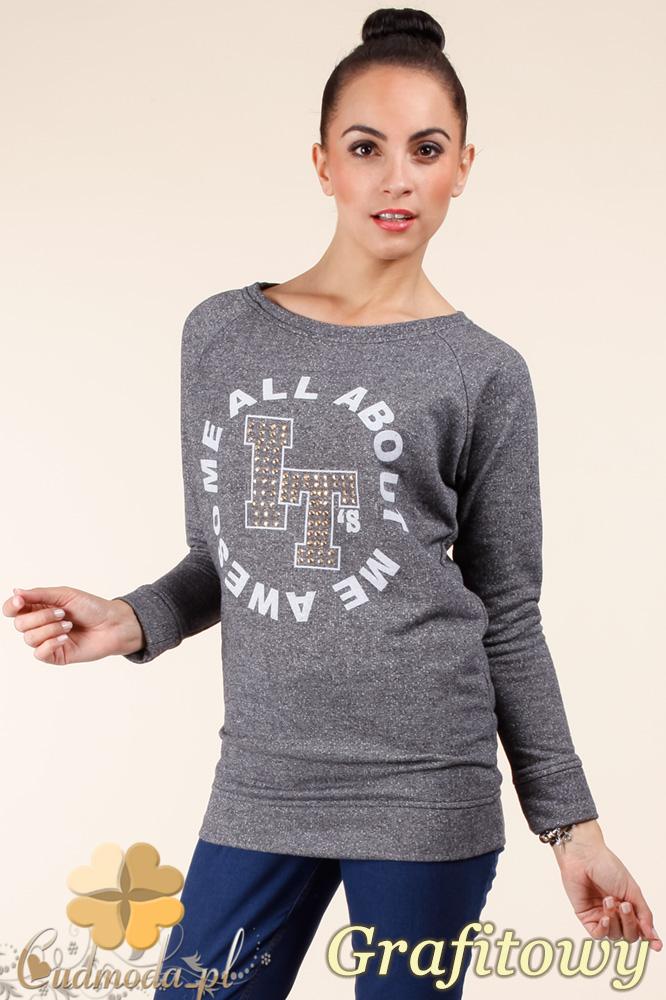 CM0362 Bluza damska z nadrukiem i złotymi ćwiekami - grafitowa