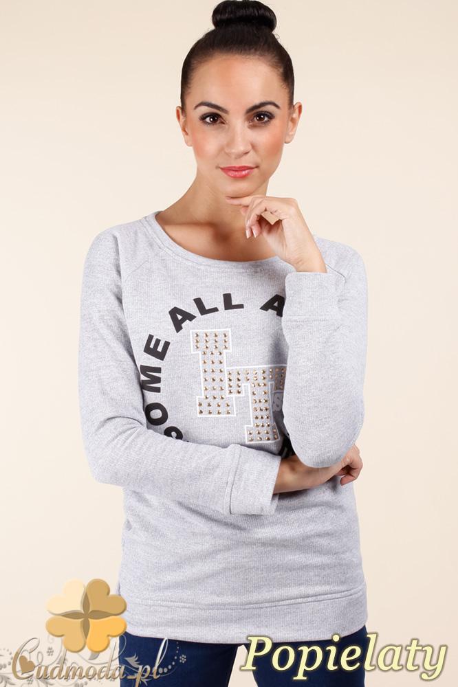 CM0362 Bluza damska z nadrukiem i złotymi ćwiekami - popielata