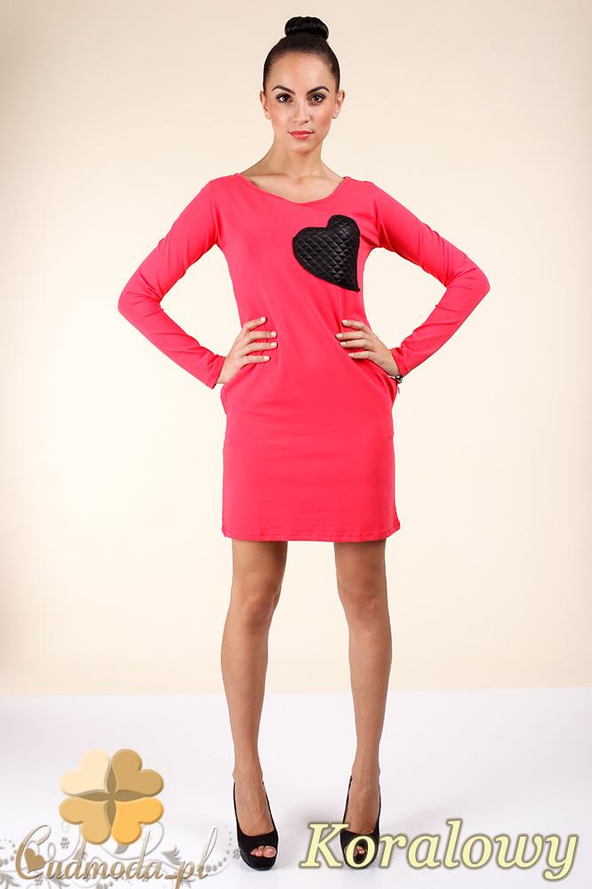 CM0363 Sukienka - tunika z pikowanym sercem - koralowa