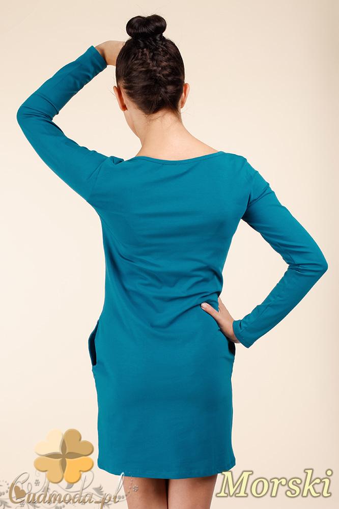 CM0363 Sukienka - tunika z pikowanym sercem - morska