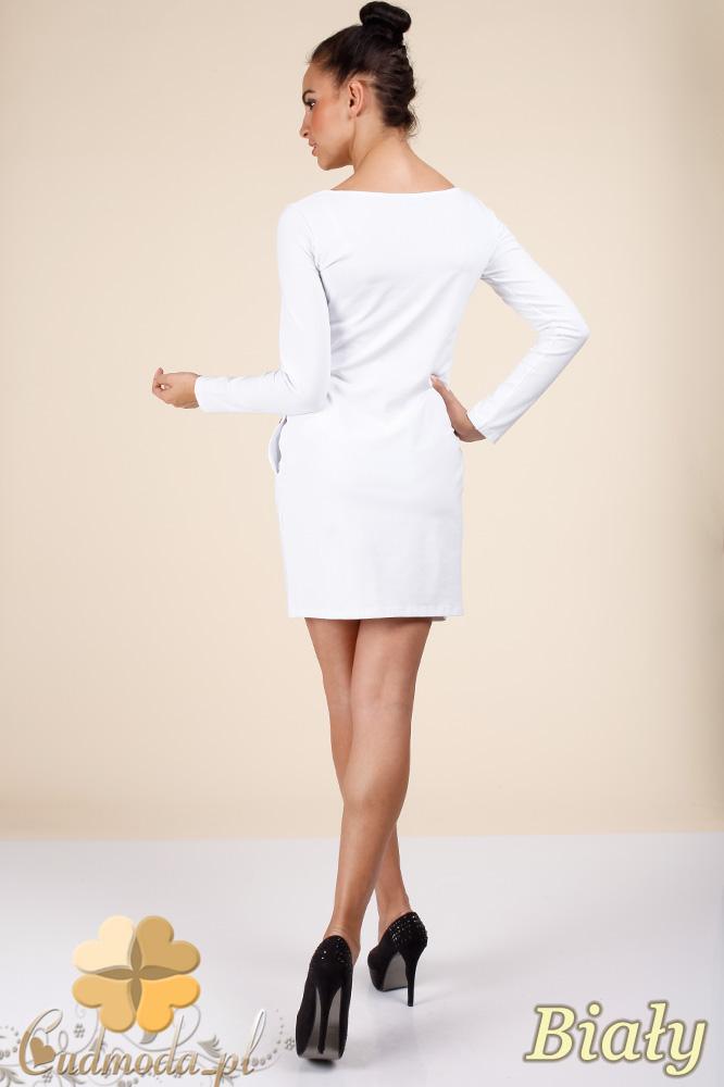 CM0363 Sukienka - tunika z pikowanym sercem - biała