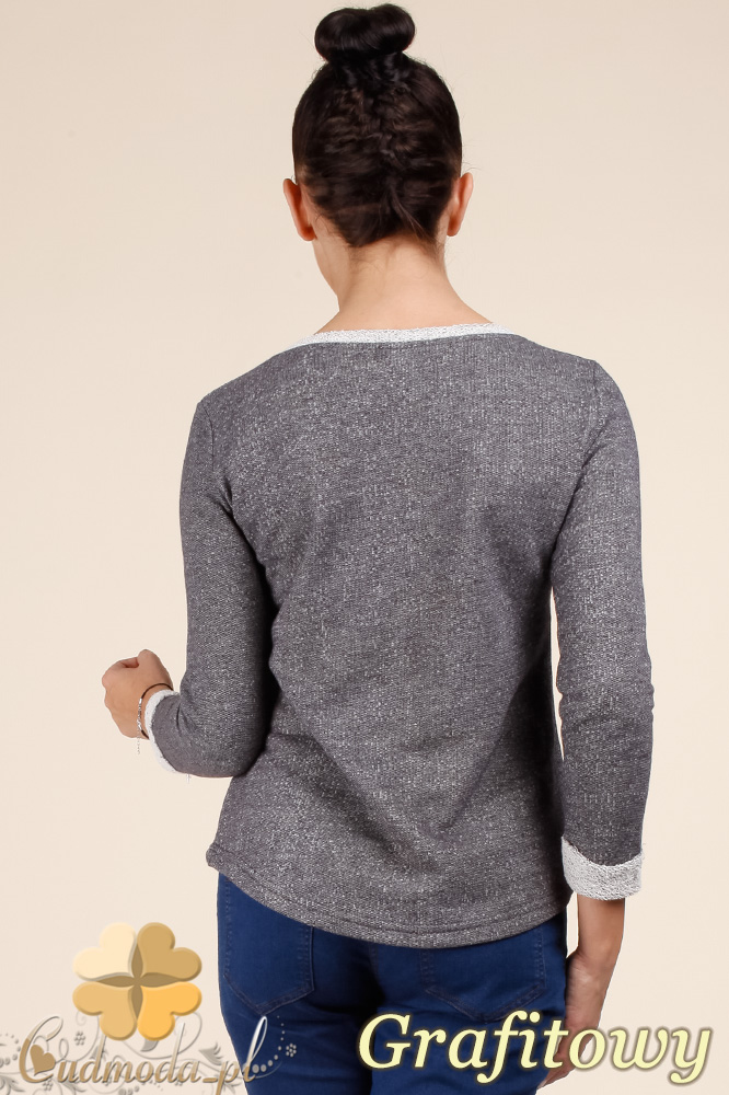 CM0366 Bluza damska z rękawem 7/8 - grafitowa