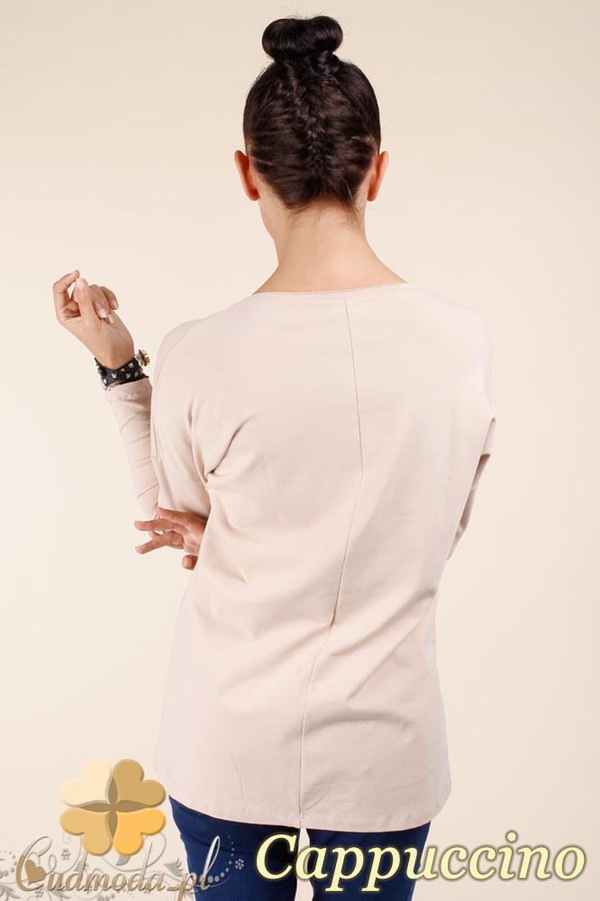 CM0367 Bluzka damska z napisami - cappuccino