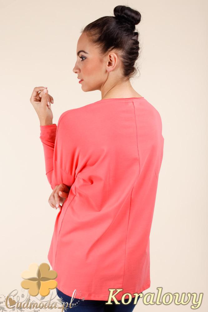 CM0367 Bluzka damska z napisami - koralowa