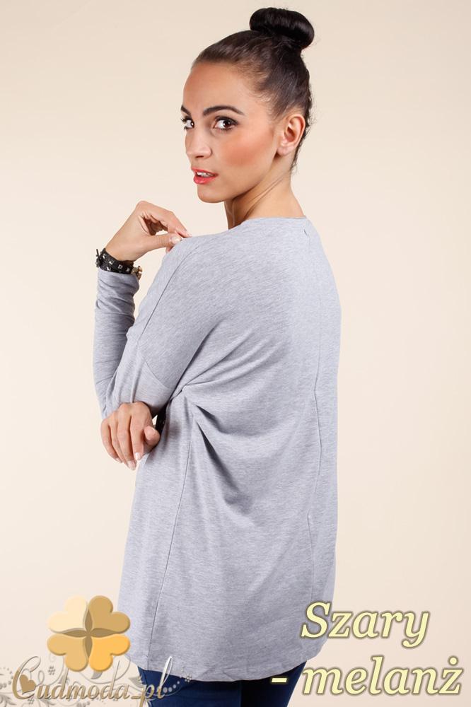 CM0367 Bluzka damska z napisami - szary melanż