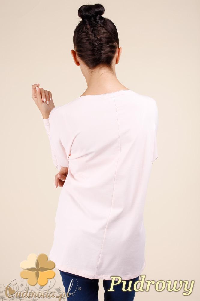 CM0367 Bluzka damska z napisami - pudrowa