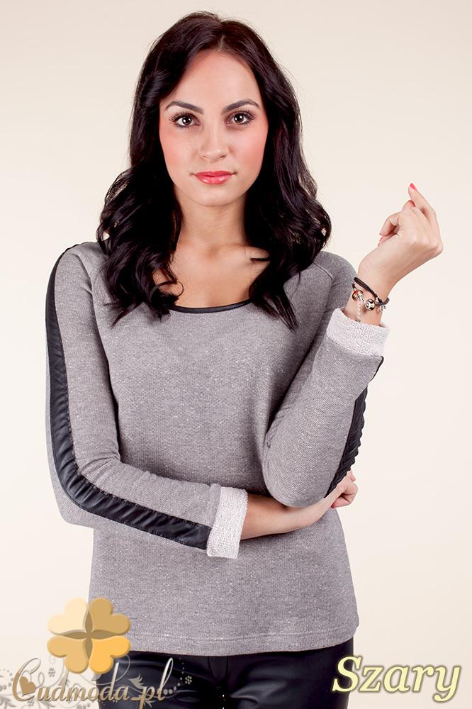CM0371 Elegancka bluzka damska z lampasem - szara