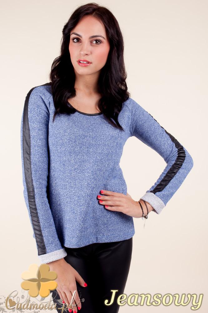 CM0371 Elegancka bluzka damska z lampasem - jeansowa