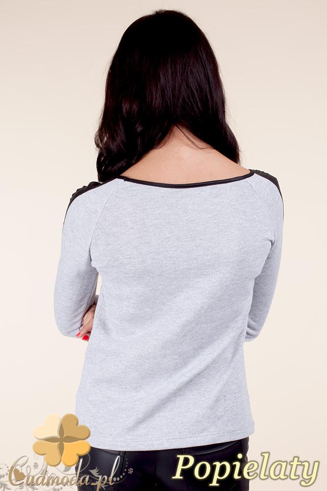 CM0371 Elegancka bluzka damska z lampasem - popielata