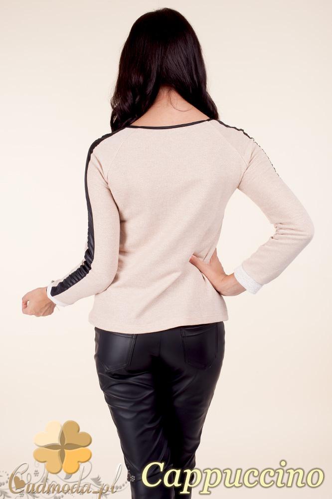 CM0371 Elegancka bluzka damska z lampasem - cappuccino