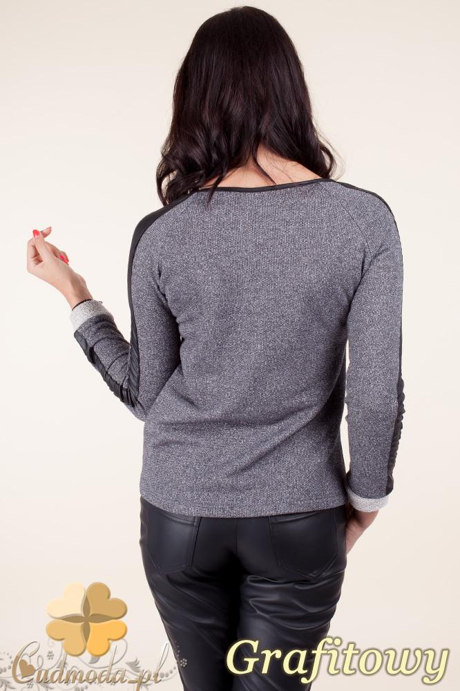 CM0371 Elegancka bluzka damska z lampasem - grafitowa