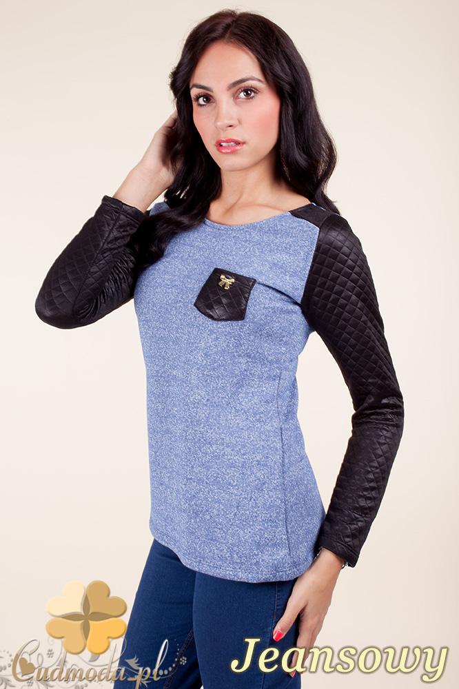CM0372 Bluzka damska z pikowanymi rękawami - jeansowa