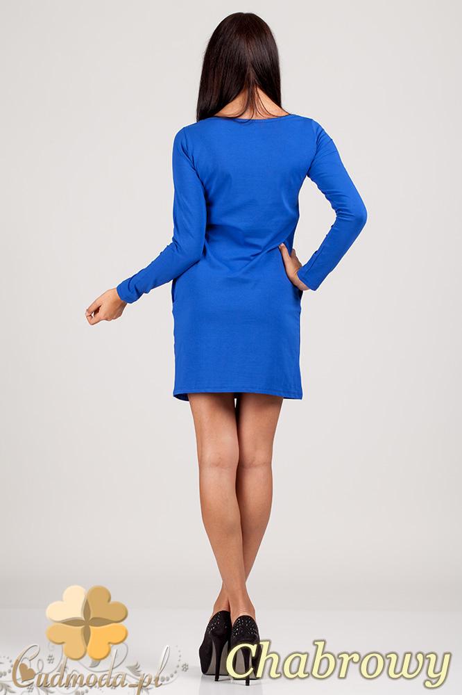 CM0363 Sukienka - tunika z pikowanym sercem - chabrowa