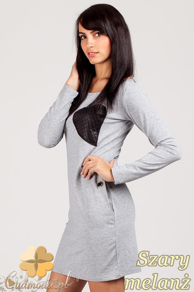 CM0363 Sukienka - tunika z pikowanym sercem - szary melanż