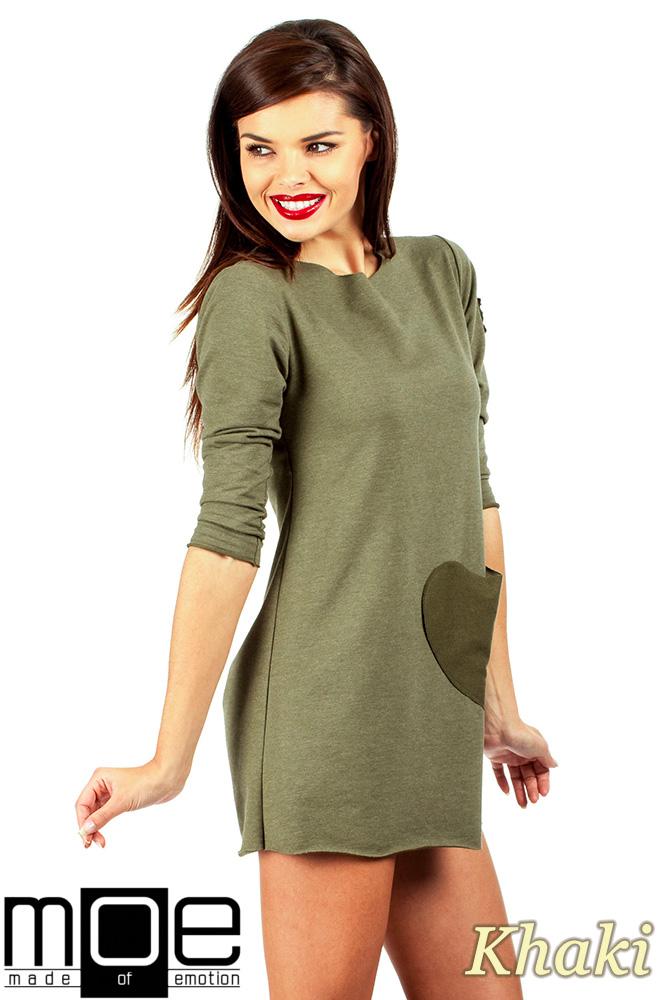 CM0356 Mini sukienka - tunika z dzianiny - khaki