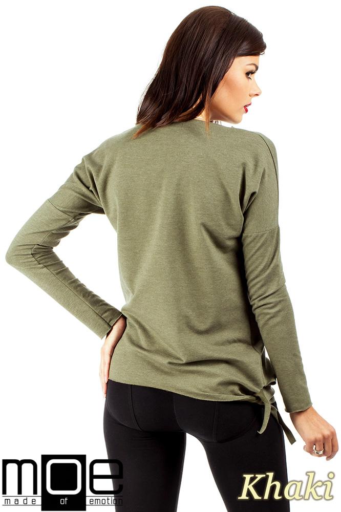 CM0340 Bluza damska dresowa z ozdobny sercem - khaki