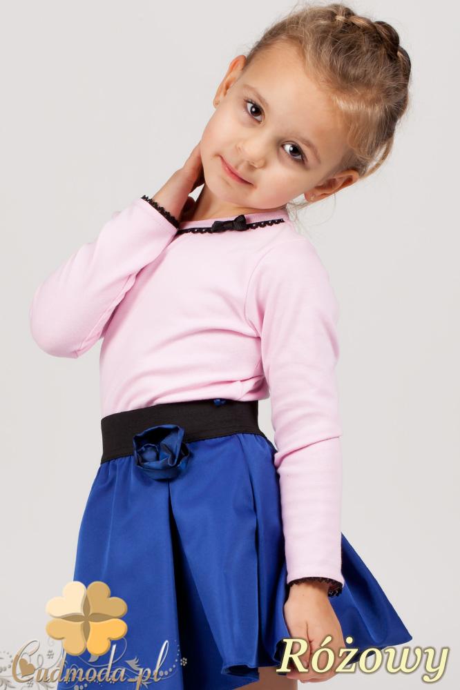MA009 Klasyczna bluzeczka dla dziewczynki z koronką - różowa