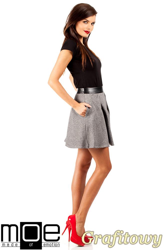 CM0325 Dzianinowa spódniczka spódnica zakładka - grafitowa