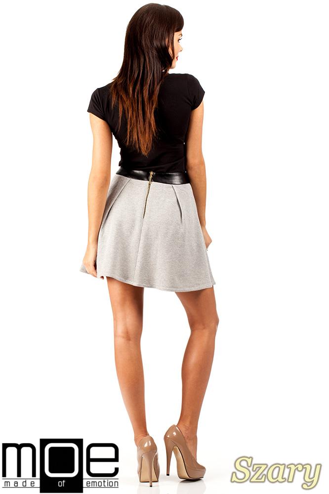 CM0325 Dzianinowa spódniczka spódnica zakładka - szara