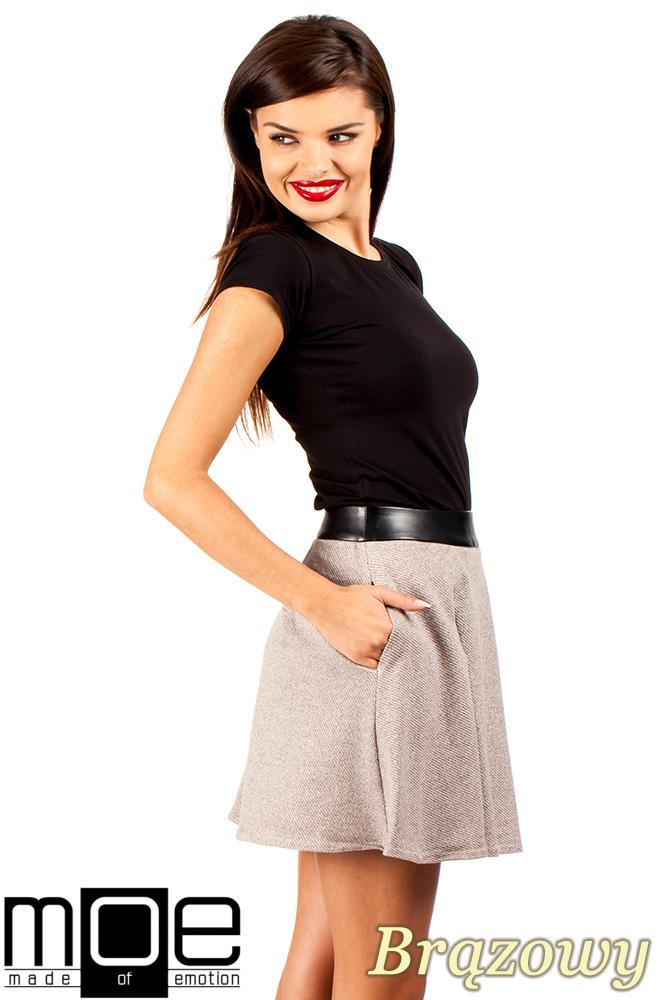 CM0325 Dzianinowa spódniczka spódnica zakładka - brązowa
