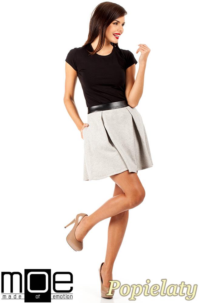 CM0325 Dzianinowa spódniczka spódnica zakładka - popielata