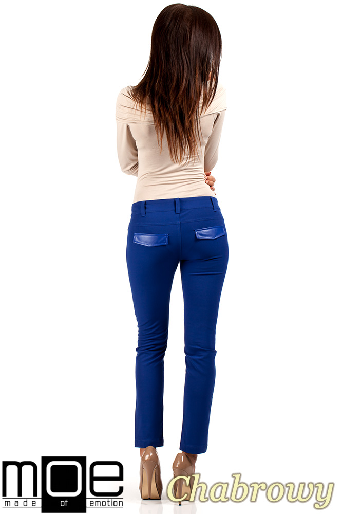 CM0335 Klasyczne eleganckie spodnie rurki skóra - chabrowe