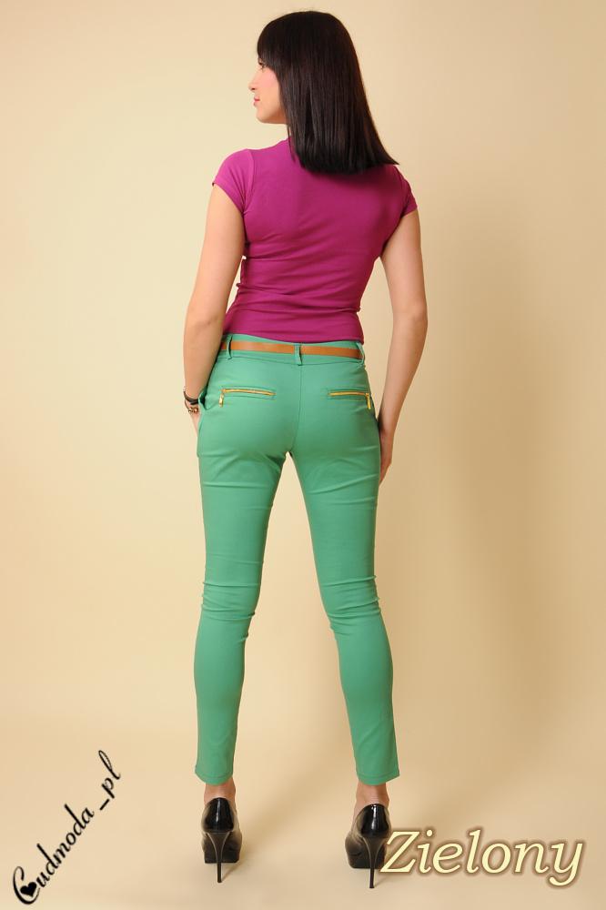 CM0098 Spodnie rurki cygaretki z ozdobnymi zameczkami - zielone