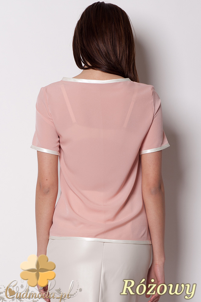 CM0381 FIGL M182 Szyfonowa bluzka damska z lamówką - różowa