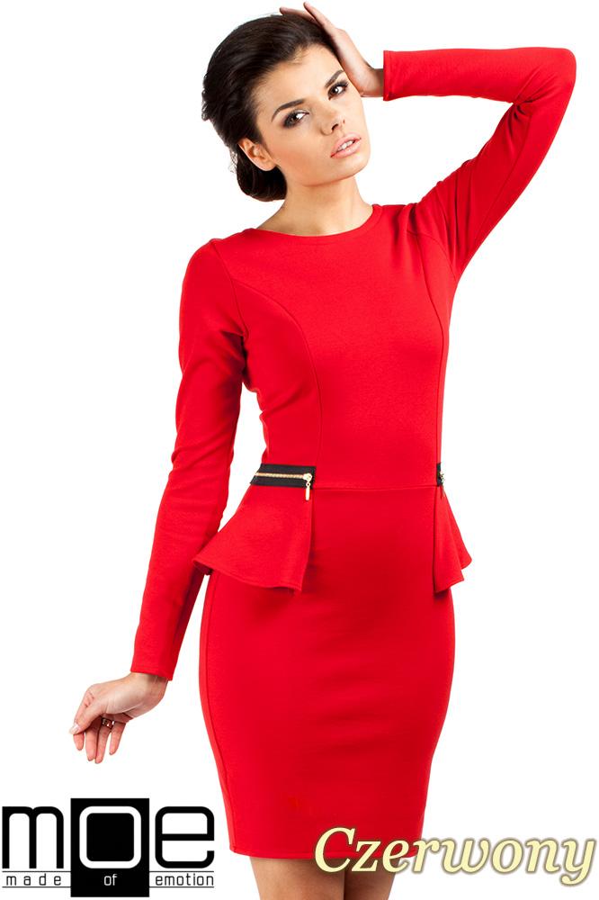 CM0330 Sukienka ołówkowa z baskinką i zameczkami - czerwona