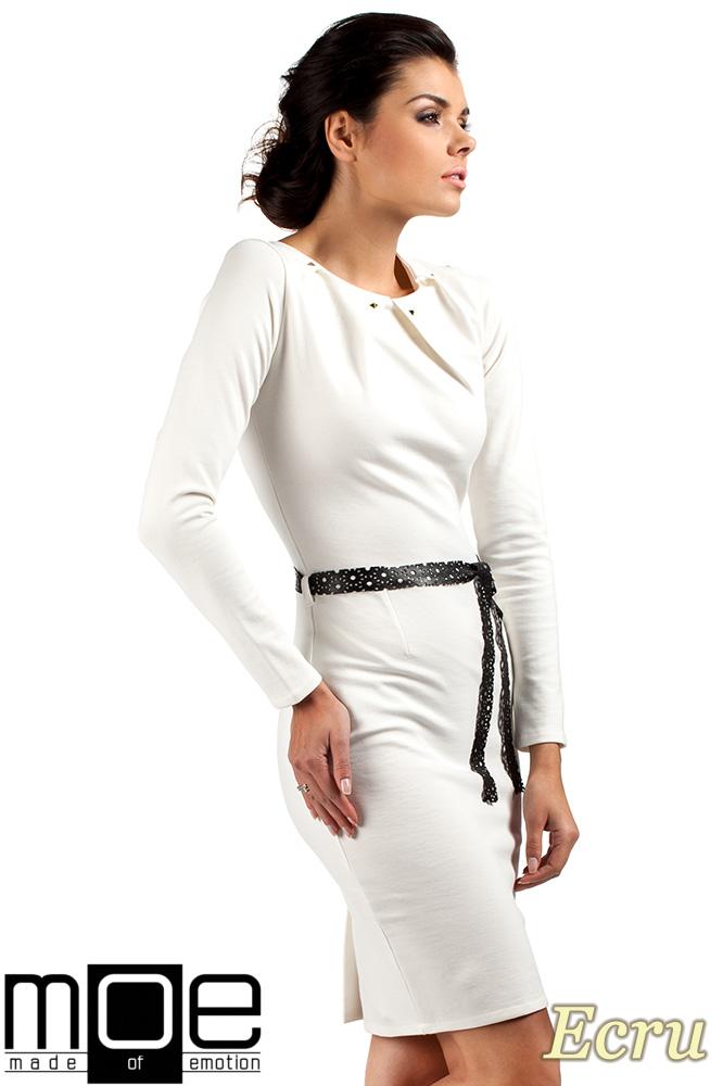 CM0333 Sukienka ołówkowa z ćwiekami - ecru