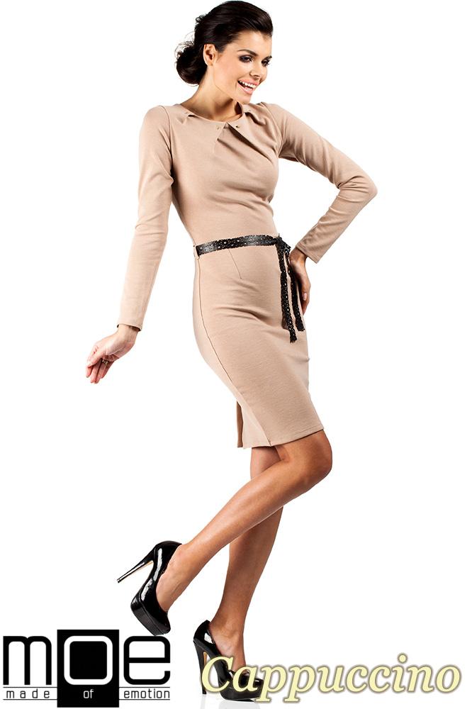CM0333 Sukienka ołówkowa z ćwiekami - cappuccino