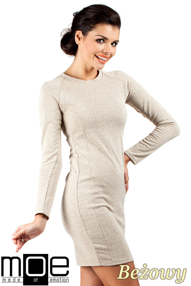 CM0326 Klasyczna sukienka mini - beżowa